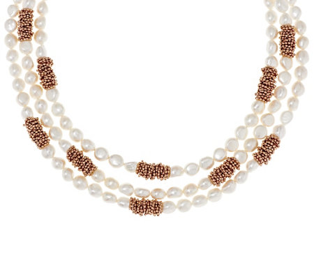 """As Is"" Honora Cultured Pearl 8.0mm Multi-strand18"" Bronze Necklace"