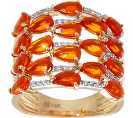 Pear Cut Mexican Fire Opal & Diamond Ring, 14K Gold 2.00 cttw