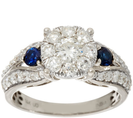 Cluster Diamond & Blue Sapphire Ring, 14K Gold 1.20 cttw, by Affinity