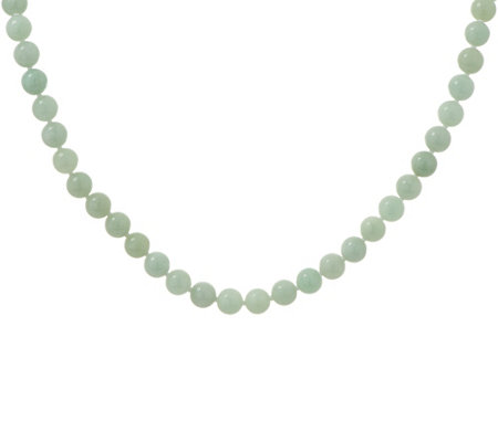 "Jade Sterling Silver 18"" Bead Necklace"