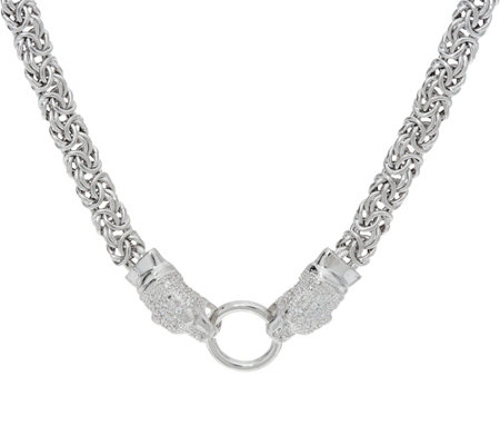 "Italian Silver Panther Design 18"" Byzantine Necklace Sterling, 27.0g"