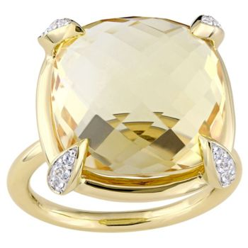 14K 15.10 cttw Citrine & White Sapphire Cocktail Ring