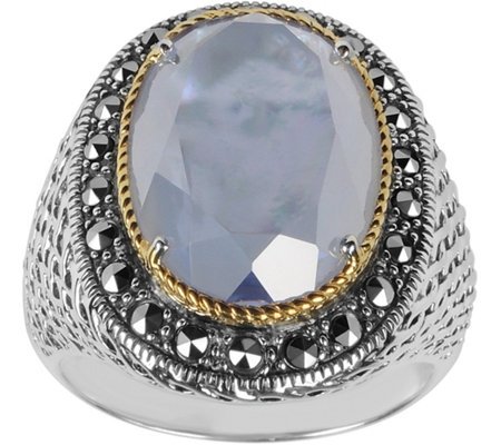 Suspicion Sterling Marcasite Mother-of-Pearl Doublet Ring
