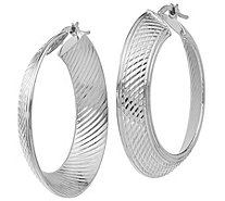 Italian Gold Graduated Hoop Earrings 14K - J381666