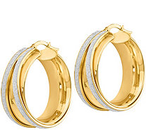 "Italian Gold 1-1/8"" Glimmer Round Hoop Earrings14K, 7.8g - J382266"