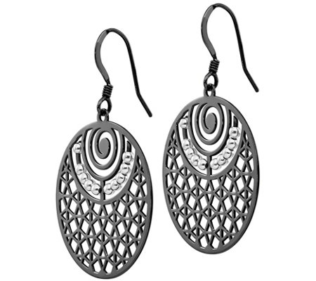 Sterling Silver Round Cutout Dangle Earrings