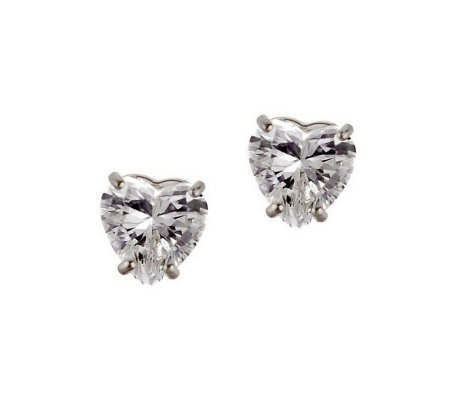 Diamonique 3 ct tw Heart Stud Earrings, 14KGold