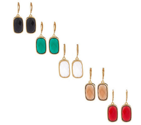 Joan Rivers Set of 5 Rhythm of Color Lever Back Earrings