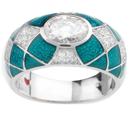 Hidalgo Diamonique & Teal Translucen Enamel East-Wes Ring, Sterling