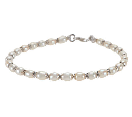 "Honora Cultured Pearl 5.0mm Oval 11"" Ankle Bracelet"
