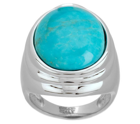 VicenzaSilver Sterling Oval Turquoise Ring