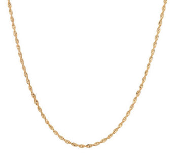 """As Is"" VicenzaGold 36"" Faceted Rope Necklace 14K Gold, 4.3g - J280567"