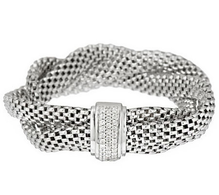 "Italian Silver Sterling 7-1/4"" Braided Mesh Bracelet with Crystal Clasp"