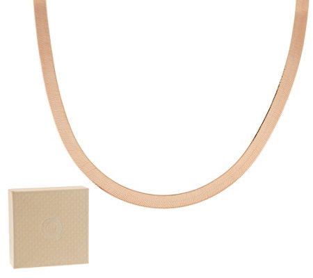 "Bronze 20"" Polished Solid 6mm Herringbone Necklace by Bronzo Italia"