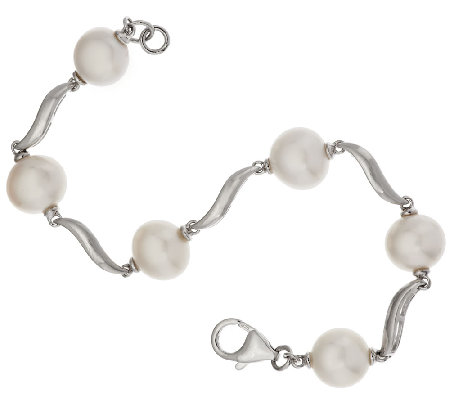 "Honora Cultured Pearl 8.0mm 6-3/4"" Swirl Design Sterling Bracelet"