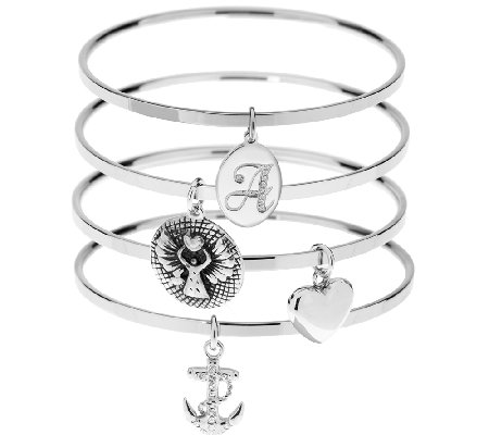 Stainless Steel Inspirational & Initial Bangle Bracelets Set of 4