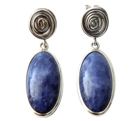 Novica Artisan Crafted Sterling Oval Sodalite Swirl Earrings