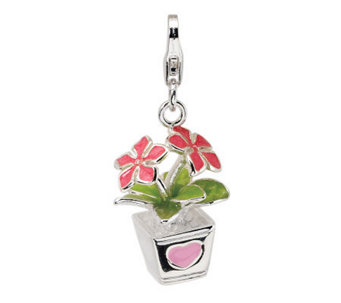 Amore La Vita Sterling Dimensional PottedFlowers Charm - J299967