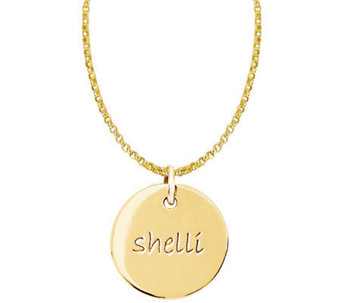Posh Mommy 18K Gold-Plated Sterl. Medium Disc Pendant w/ Chai - J300067