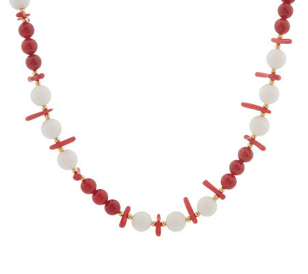 "Lee Sands Red & White Coral 21"" Necklace"