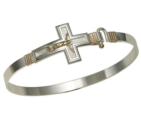 Bold Crucifix Bangle, Sterling Silver/14K RoseGold
