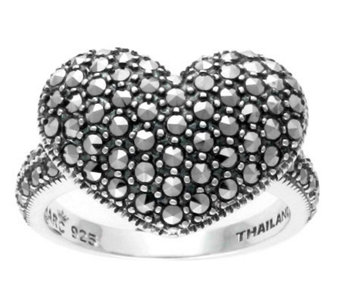 Suspicion Sterling Marcasite Domed Heart Ring - J304367