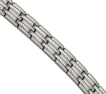 "Forza 8-1/2"" Brushed and Polished Cable Inlay Bracelet - J304567"