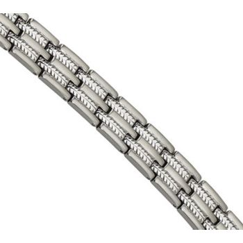 Forza 8-1/2 Brushed and Polished Cable Inlay Bracelet