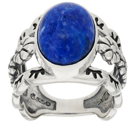 American West Sterling Silver Oval Denim Lapis Ring