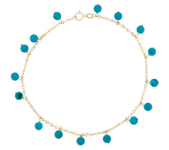 """As Is""14K Gold 9"" Turquoise Bead Dangle Ankle Bracelet - J320067"