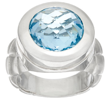 Michael Dawkins Sterling 5.50 ct Blue Topaz Quilt Texture Ring