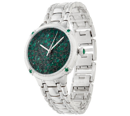 Ecclissi Facets Pave' Emerald Stainless Steel Watch 6.25 cttw