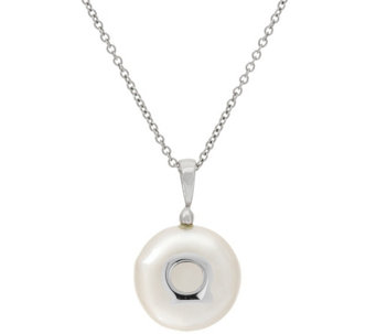 Honora Cultured Pearl 14.0mm Coin White Sterling Initial Pendant - J323067