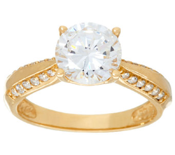 Diamonique 2.00ct Solitaire Ring, 14K Gold - J325067