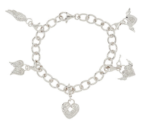 Guardian Angel Diamond Charm Bracelet, 1/5 cttw, Sterling, by Affinity