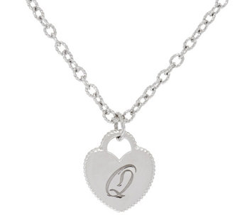 Judith Ripka Sterling Verona Initial Heart Charm Necklace - J326467