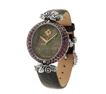 """As Is"" Barbara Bixby Steel/18K Mother-of-Pearl & Gemstone Skull Watch"