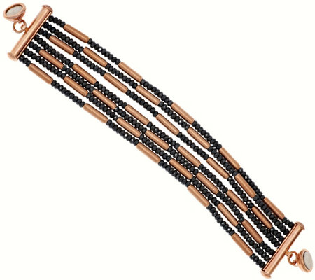 """As Is"" Bronze Multi-strand Hematite Bead Bracelet by Bronzo Italia"