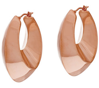 """As Is"" Bronze 1-1/2"" Graduated Oval Hoop Earrings Bronzo Italia - J327867"