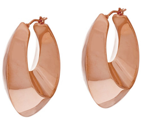 """As Is"" Bronze 1-1/2"" Graduated Oval Hoop Earrings Bronzo Italia"