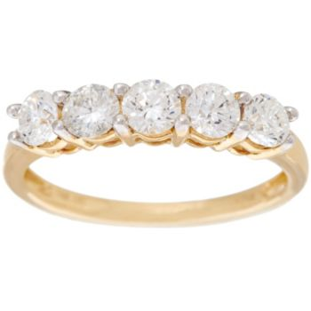1.00 cttw 5 Stone Diamond Band Ring, 14K Gold, by Affinity