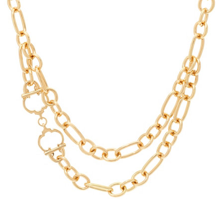 "C. Wonder 18"" Layered Chain Necklace with Status ""C"" Station"