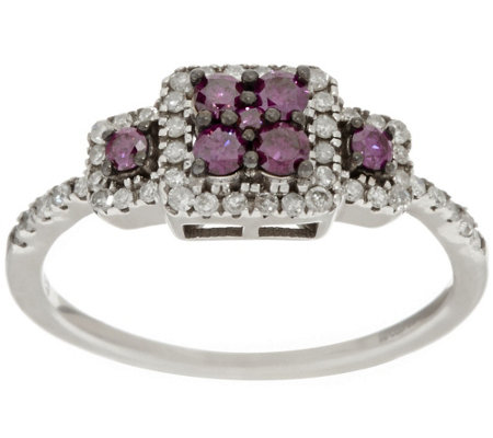 """As Is"" 3-Stone Purple Diamond Ring,Sterling, 1/2 cttw, by Affinity"