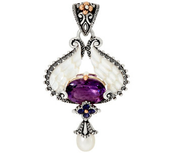 Barbara Bixby Sterling & 18K 5.20 cttw Amethyst Angel Wing Enhancer - J329667