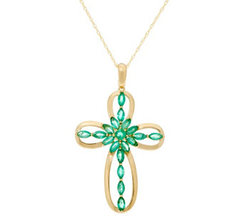 Multi-Cut Precious Gemstone Cross Enhancer on Chain, 14K Gold - J330167