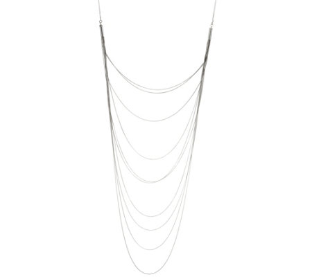 Italian Silver Sterling Layered Bib Necklace, 14.6g