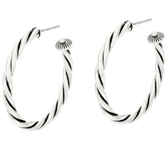 "Sterling Silver Rope Design 1-1/2"" Hoop Earrings by American West - J330567"