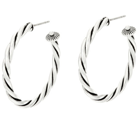 "Sterling Silver Rope Design 1-1/2"" Hoop Earrings by American West"