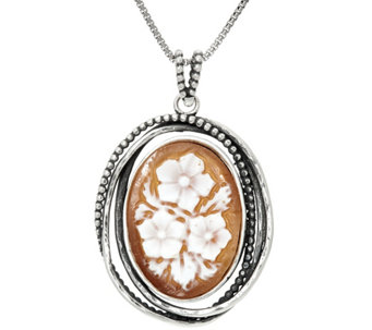 Sterling Silver Floral Cameo Pendant with Chain by Or Paz - J331467