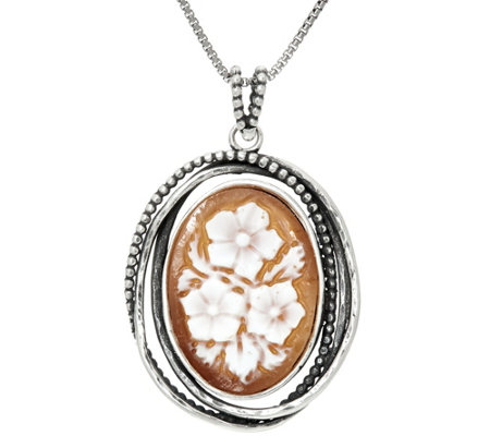 Sterling Silver Floral Cameo Pendant with Chain by Or Paz